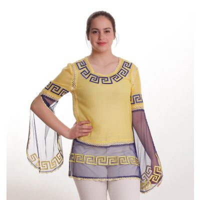 Yellow and blue blouse embroidered with Hellenic pattern