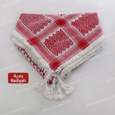 Red and White Kufiyyeh - with Badiyah Style handmade tassels