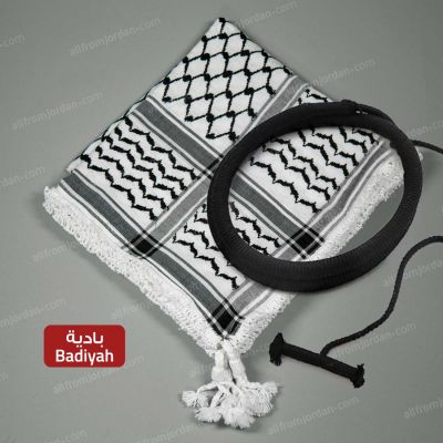 Black and White Kufiyyeh and Eigal - with Badiyah Style handmade tassels