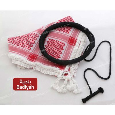 Red and White Kufiyyeh and Eigal - with Badiyah Style handmade tassels
