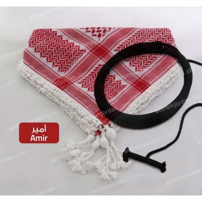 Red and White Kufiyyeh and Eigal- with Amir Style handmade tassels