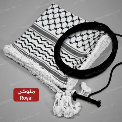 Black and White Kufiyyeh and Eigal- with Royal (Mulouki) Style handmade tassels