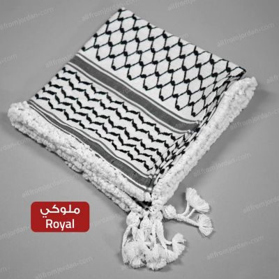 Black and White Kufiyyeh - with Royal (Mulouki) Style handmade tassels
