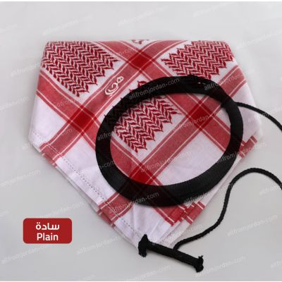 Red and White Kufiyyeh with Eigal (Plain - without tassels)