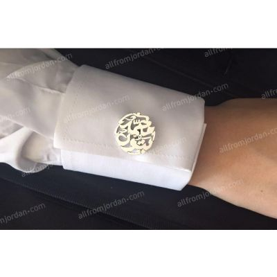 Round gold or silver plated cufflinks custom made with your name.
