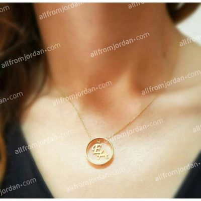 Custom made necklace with ring pendant containing your initials, free shipping worldwide.