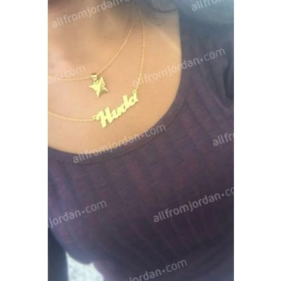 Double necklace with butterfly and custom made (your) name.