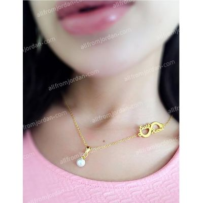 Necklace with faux pearl pendant and custom made S shape with two names (his and her's), free shipping worldwide.