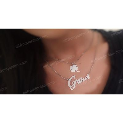 Double necklace with clover leaf and custom made pendant of your name, free shipping worldwide.