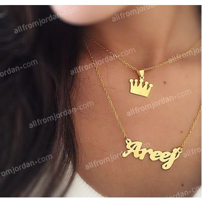 Double necklace with crown and custom made pendant of your name, free shipping worldwide.