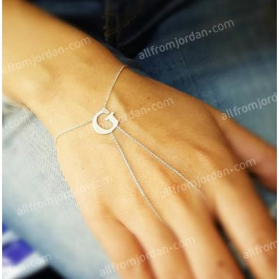 Finger and wrist bracelet with your initial custom made, free shipping worldwide.