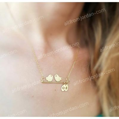 Necklace with lovebirds and two custom made initials, free shipping worldwide.