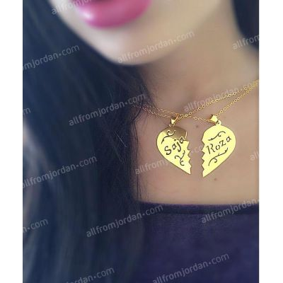 Necklace with split heart and two custom made names, free shipping worldwide.