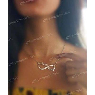 """Infinite Love"" necklace with 2 custom made names in Arabic or English"