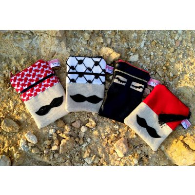 Tribalogy handmade Jordanian characters moustache cloth bags (set of 4)
