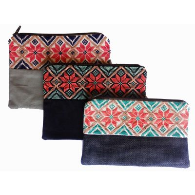 Deep Joria® traditional Palestinian embroidered make up bag