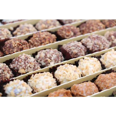 Jewel chocolate dipped date trufles covered with nuts, 1kg pack