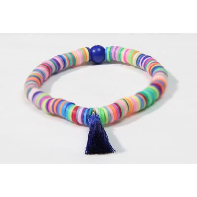 """Tribal Lady"" Navy-Blue polymer clay handmade bracelet"