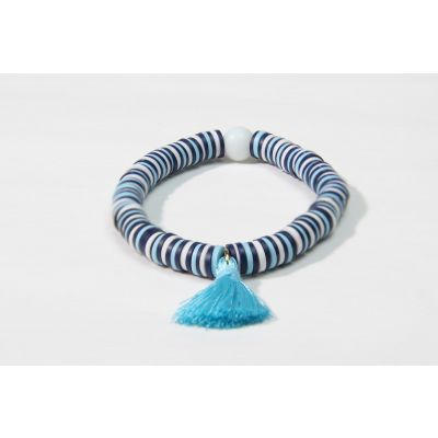 """African Blue Bird"" Light sky blue polymer clay handmade bracelet"