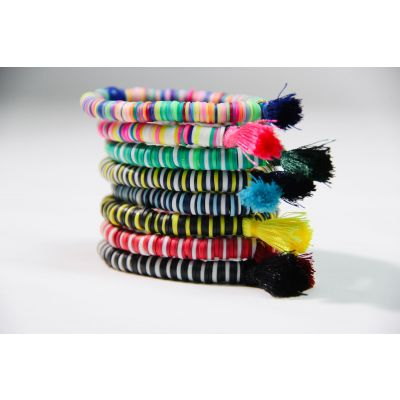 """African Joy"" Handmade polymer clay bracelets (set of 8)"