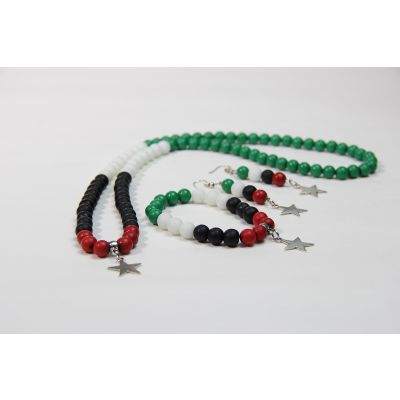 Jordanian Flag Colors Handmade Accessories Set