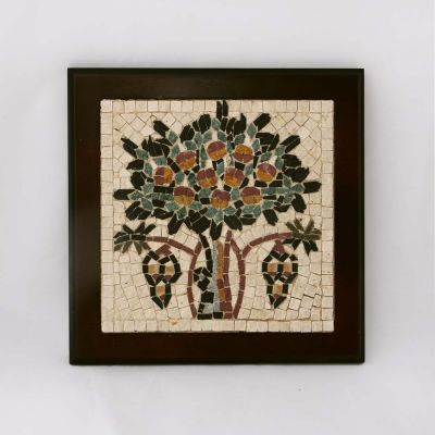 "Madaba ""Tree of Life"" Framed Mosaic 15x15cm (6""x6"")"