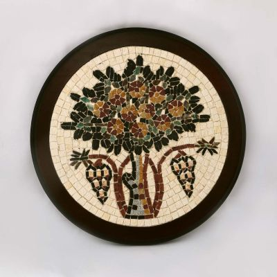"Madaba ""Tree of Life"" Round Framed Mosaic diameter 20cm (8"")"