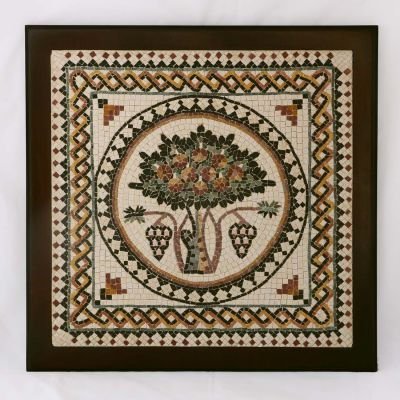 "Madaba ""Tree of Life"" Framed Mosaic 40x40cm (16""x16"")"