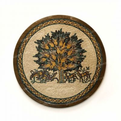 "Jericho ""Tree of Life"" Round Framed Mosaic diameter 50cm (12.5"")"