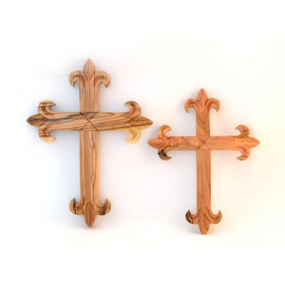 Olive Wood Wall Cross Fleur De Lis