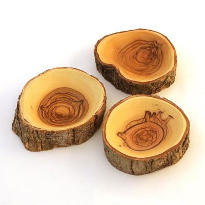 Olive Wood Bark Bowl – Circular, Regular