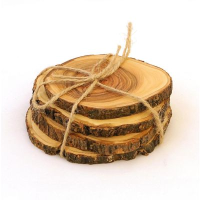 Natural Bark Olive Wood 4-Pc Coaster Set
