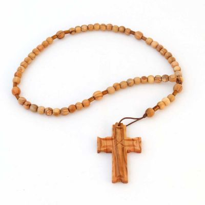 Hand Made Olive Wood Rosary (8mm round beads)
